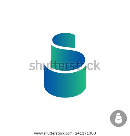 S letter color ribbon logo template - stock vector