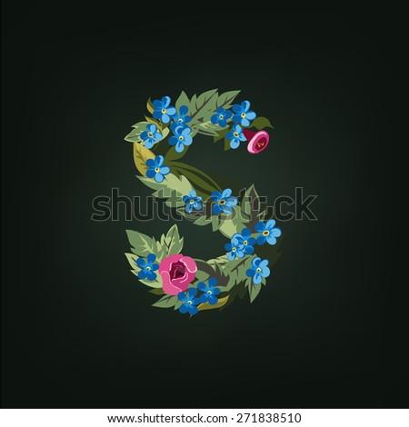 S letter. Flower  alphabet. Colorful font. Lowercase.  Vector illustration. - stock vector