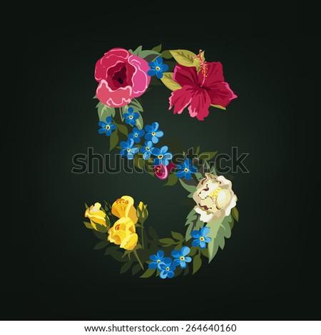 S letter. Flower capital alphabet. Colorful font. Uppercase.  Vector illustration. - stock vector