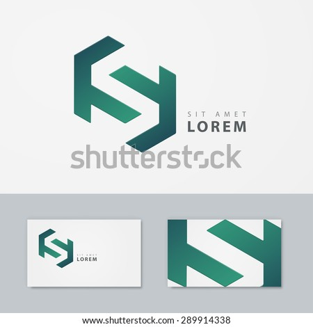 S letter logo business card. Vector template - stock vector