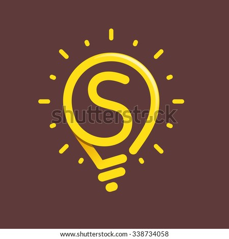 S letter with light bulb or idea icon. Vector design template elements for your application or corporate identity. - stock vector