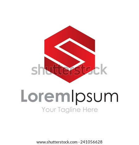 S strong capital red letter business element icon logo  - stock vector