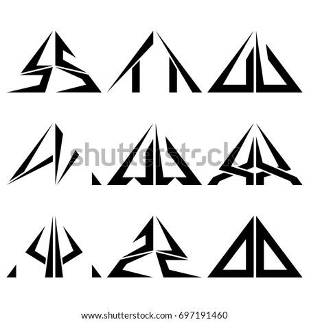 Sz Half Triangle Shapes Symbol Letter Stock Vector 2018 697191460