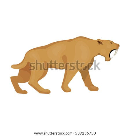 sabertoothed tiger icon cartoon style isolated stock vector rh shutterstock com cartoon sabre tooth tiger cartoon sabre tooth tiger