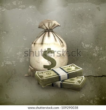 Sack and money, old style vector - stock vector