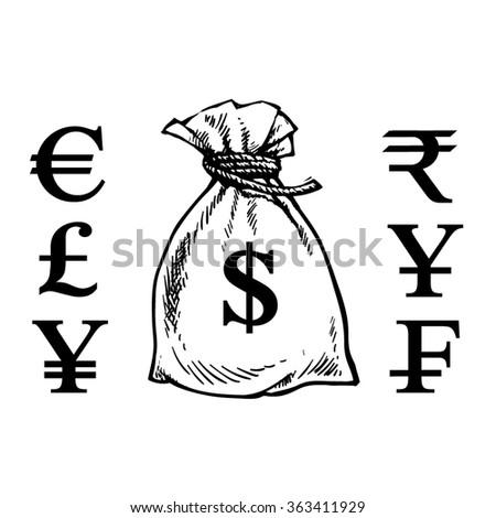 Sack Money Currency Symbols Dollar Euro Stock Vector 363411929