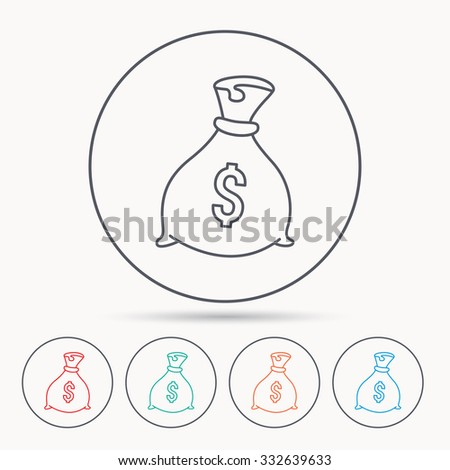 Sack with dollars icon. Money bag sign. Banking symbol. Linear circle icons.