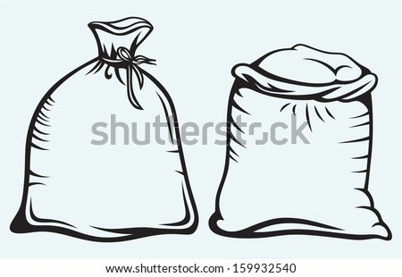 Sacks of grain isolated on blue background - stock vector
