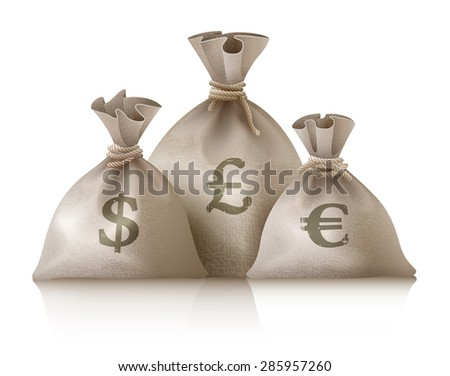 Sacks with money currencies dollar euro and pound. Eps10 vector illustration. Isolated on white background - stock vector