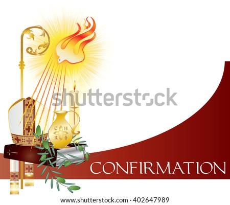 Sacrament Confirmation Symbolic Vector Drawing Illustration Stock