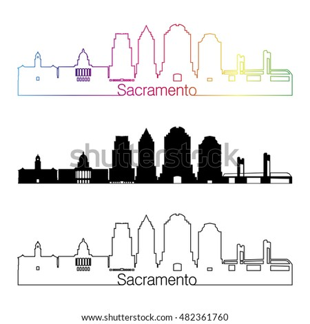 Sacramento skyline linear style with rainbow in editable vector file