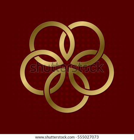 Sacred Geometric Symbol Five Flower Petals Stock Vector Royalty