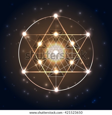 Sacred Geometry. Abstract geometric shapes on a dark blue glowing background. Vector abstract background. - stock vector