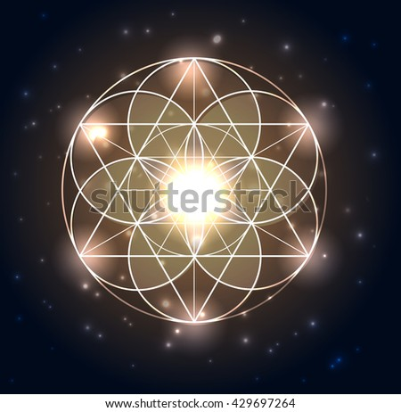 Sacred Geometry. Abstract geometric shapes on a dark blue glowing background. Vector abstract background. Mandala - stock vector