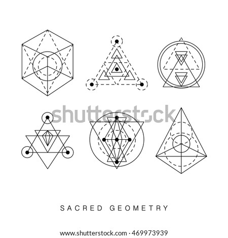 Sacred Geometry Abstract Signs Set Tattoo Stock Vector 469973939