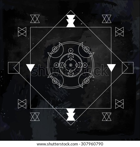 Sacred geometry. Alchemy, religion, philosophy, spirituality, hipster symbols and elements. Cosmos. Night