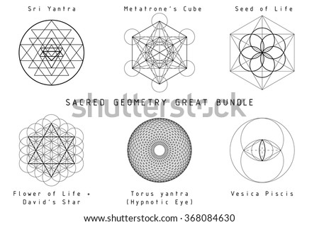 Sacred Geometry Great Bundle. Black geometry on a white background with titles. - stock vector