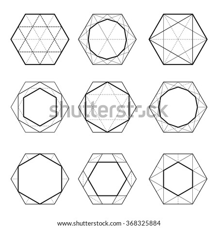 Sacred Geometry. Hexagons. Dodecahedron. The linear design. Elements of the ornament. Seth cut diamonds. - stock vector