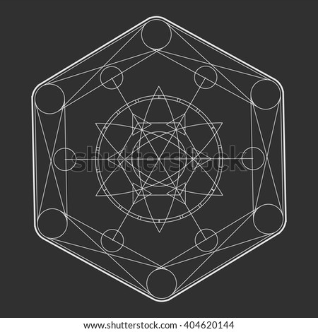 Sacred Geometry in light grey lines. Burst star in space.  Explosion pattern geometrical abstract light grey. Vector simple illustration