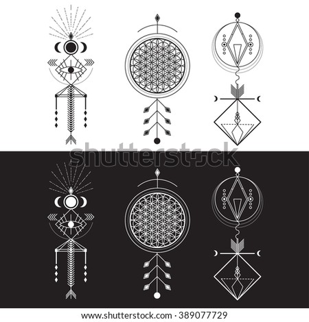 sacred geometry magic totem sacred symbols stock vector royalty