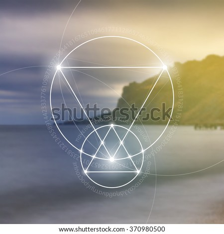 Sacred geometry. Mathematics, nature, and spirituality in nature. The formula of nature. There is no beginning and no end of the Universe, and no beginning and no end of the Life and the Bliss. - stock vector