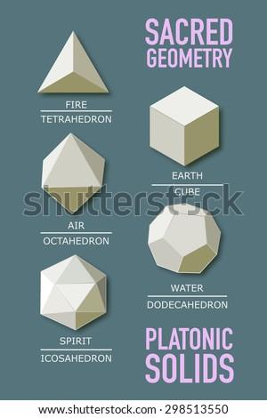 Sacred geometry - platonic solids - five elements - stock vector - stock vector