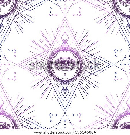 Sacred geometry seamless pattern with all seeing eye isolated on white. Mystic, alchemy, occult. Design for indie music album cover, t-shirt print, boho poster, flyer. Astrology, shamanism, religion. - stock vector