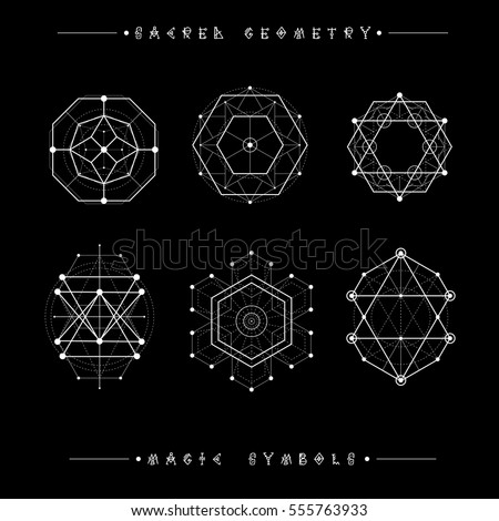 sacred geometry signs set symbols elements stock vector royalty