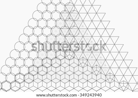 Sacred geometry symbols and elements background. Alchemy, religion, philosophy, astrology and spirituality themes - stock vector