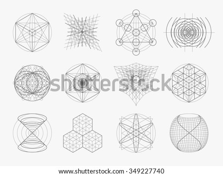Sacred geometry symbols and elements set. 12 in 1. Alchemy, religion, philosophy, astrology and spirituality themes - stock vector