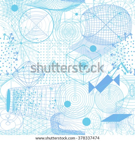 Sacred geometry symbols and elements wallpaper seamless pattern. Science lab. Science and technology. Science background. Science Laboratory. Science vector.  - stock vector