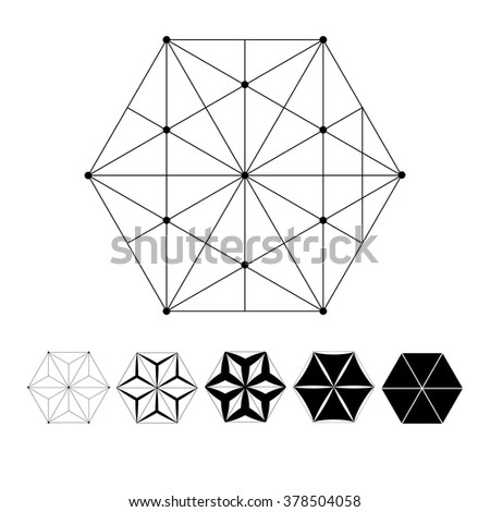 Sacred Geometry. The intersection of geometric lines. A clear increase in weight. Increasing. Hexahedron. Hexagonal shapes set. Crystal forms.  Hexagons vector illustration