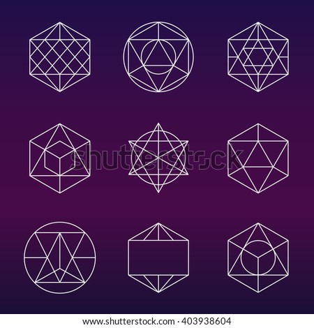 Sacred geometry vector set. Alchemy, religion, philosophy, spirituality, hipster symbols and elements - stock vector