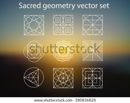 Sacred geometry. Vector set of religion, alchemy, philosophy, spirituality, hipster and new age symbols and elements. Magic sunshine background.
