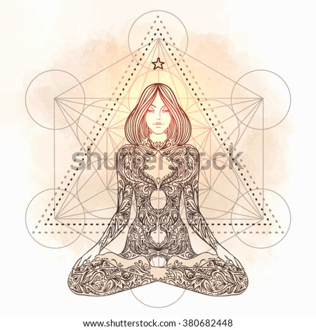 Sacred geometry. Woman ornate silhouette sitting in lotus pose. Meditation, aura and chakras. Vector illustration. - stock vector