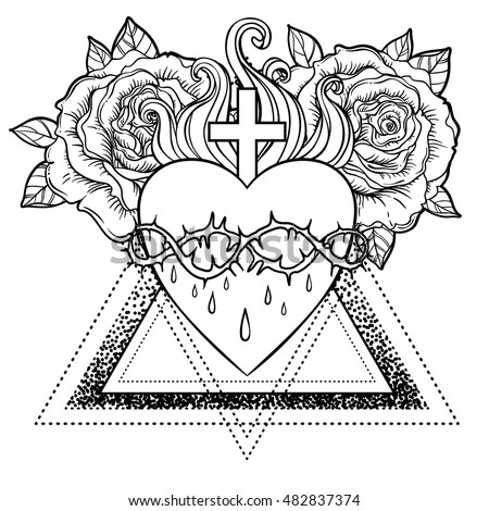 Sacred Heart Coloring Page Sketch