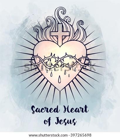 Sacred Heart of Jesus. Vector illustration over vintage background. Trendy Vintage style element. Dark romance, philosophy, spirituality, occultism, alchemy, magic, love. Design tattoo art. - stock vector