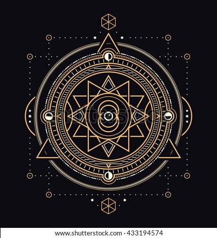 Sacred Symbols Design - Abstract Geometric Illustration - Gold and White Elements on Dark Background - stock vector