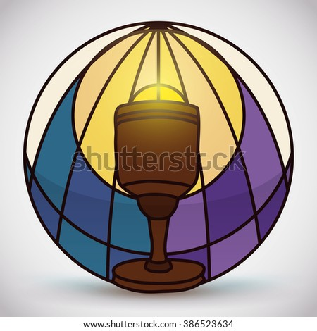 Sacred wooden chalice with aureole in stained glass style with symbolic blue water in left and purple color at the right for whine. - stock vector