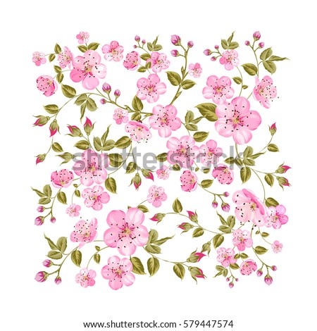 Sacura flowers in rectangle pattern isolated over white background. Vector illustration.