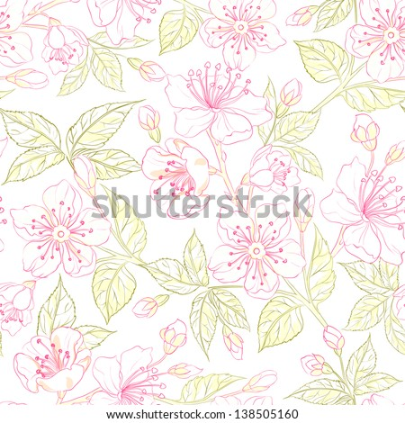 Sacura seamless background. Vector illustration. - stock vector