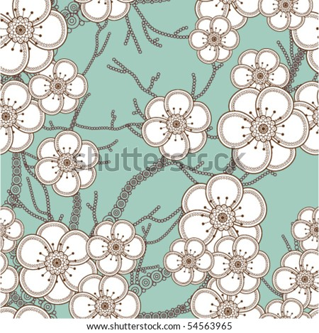 Sacura seamless pattern - stock vector