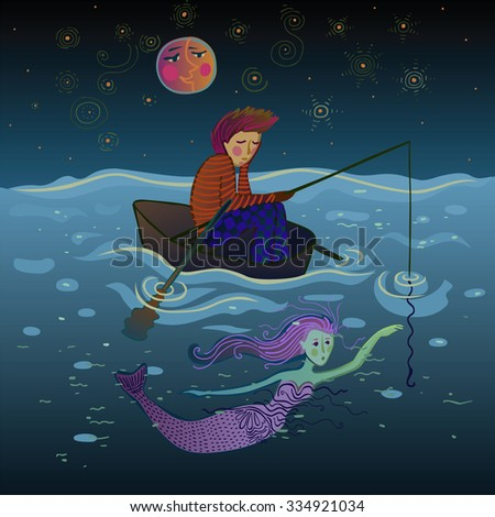 sad and lonely fisherman in a boat under the moon just before meeting the pretty mermaid - stock vector