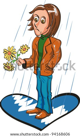Sad boy - stock vector
