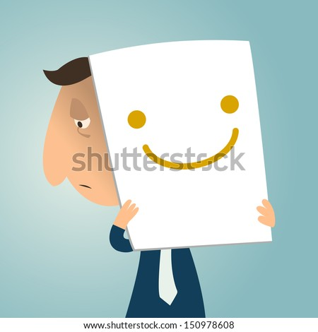 Sad business man holding cardboard with smiley face to express himself to be happy. Vector illustration. - stock vector