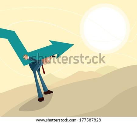 sad businessman carrying downward arrow - stock vector