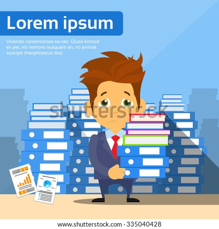 Sad Businessman Study Problem Hold Pile Stack Books, Lot of Work Concept Busy Business Man Flat Vector Illustration - stock vector