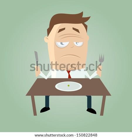 sad cartoon man on diet - stock vector