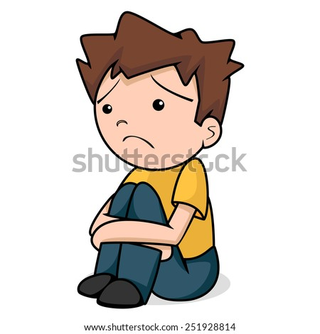 Sad child, vector illustration, isolated white background - stock vector