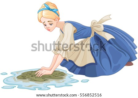 Sad Cinderella Cleaning Floor Floor Cloth Stock Vector